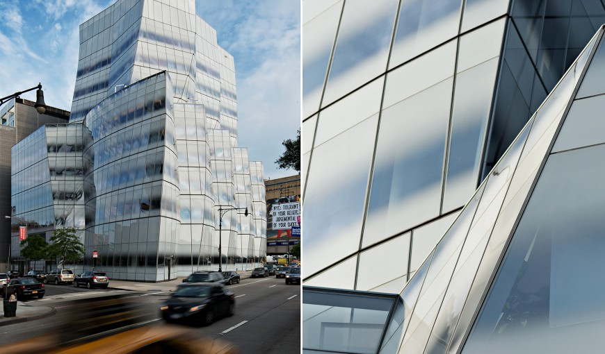 architecture photography: Frank Gehry's InterActiveCorp's headquarters (IAC building) at the blue hour, Chelsea, Manhattan, New York City, NYC